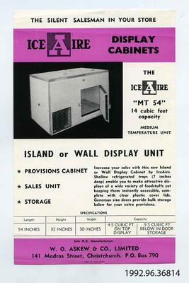 Flyer: Ice Aire MT 54 Display Cabinet