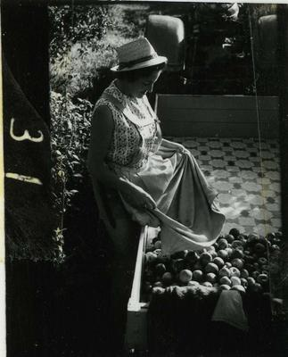 Contact Print: Women Unloading Fruit