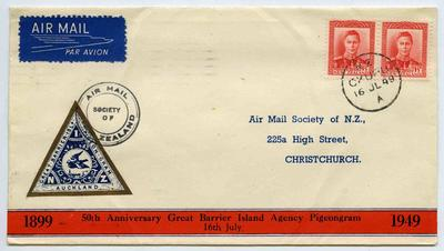 Pigeongram: 50th Anniversary Great Barrier Island Agency Pigeongram