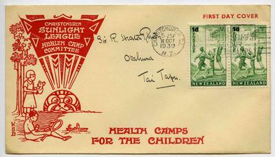 First Day Cover: New Zealand Health Stamps 1939