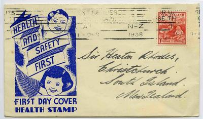 First Day Cover: New Zealand Health Stamps 1938