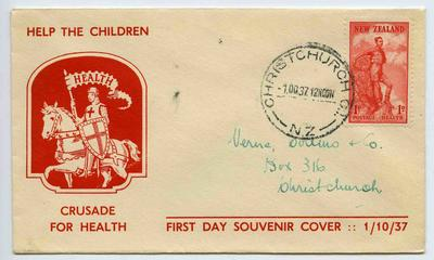 First Day Souvenir Cover: New Zealand Health Stamps 1937