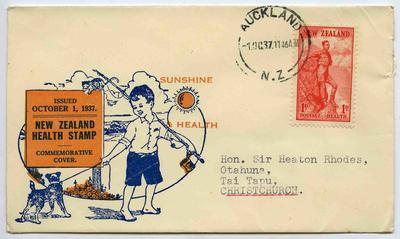 Commemorative Cover: New Zealand Health Stamps 1937