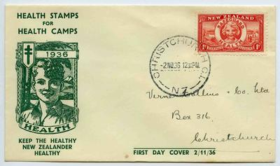First Day Cover: New Zealand Health Stamps 1936