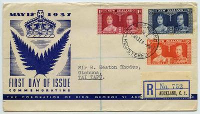 First Day Cover: New Zealand Coronation Commemorative Cover 1937