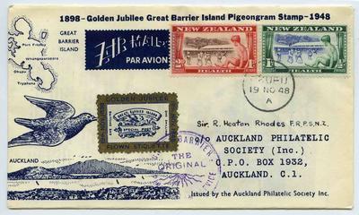 Pigeongram: Golden Jubilee Great Barrier Island Pigeongram Stamp