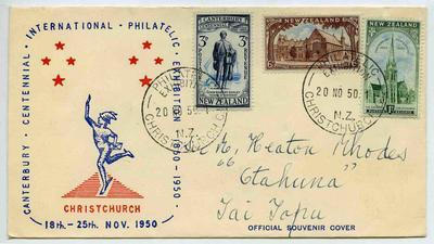 Souvenir Cover: Canterbury Centennial International Philatelic Exhibition 1950