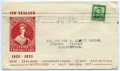 Souvenir Cover: New Zealand International Stamp Exhibition 1955