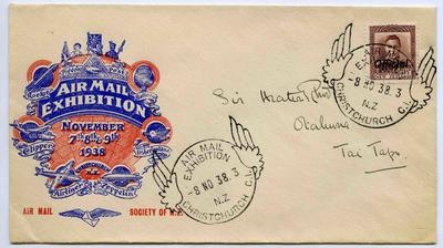 Souvenir Cover: Christchurch Air Mail Exhibition 1938