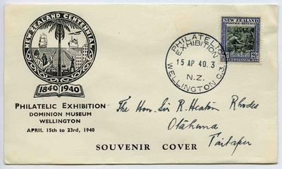 Souvenir Cover: New Zealand Centennial Philatelic Exhibition, Wellington, 1940