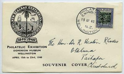 Souvenir Cover: New Zealand Centennial Philatelic Exhibition, Wellington, 1940
