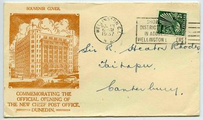 Souvenir Cover: Commemorating the Official Opening of the new Chief Post Office, Dunedin