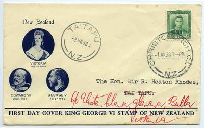 First Day Cover: King George VI Stamp of New Zealand