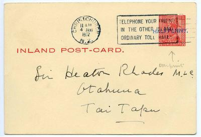 Postcard: New Zealand Half Penny Stamp