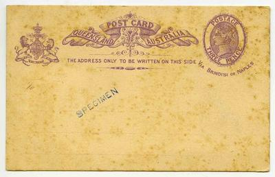 Postcard: Queensland Three Pence Stamp