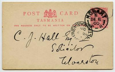 Postcard: Tasmania One Penny Stamp