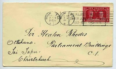Envelope: New Zealand One Penny Stamp Attached