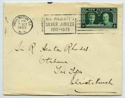 Envelope: New Zealand Half Penny Stamp Attached