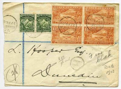 Envelope: New Zealand Half Penny and One and a Half Pence Stamps Attached