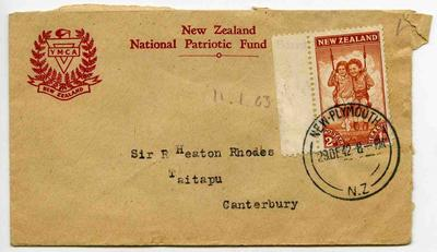Envelope: New Zealand Two Pence Stamps Attached