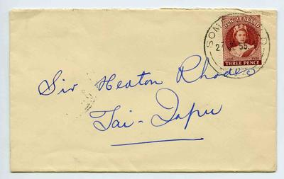 Envelope: New Zealand Three Pence Stamp Attached