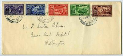 Envelope: New Zealand Half Penny, One Penny, Two and a Half Pence, Four Pence and Six Pence Stamps Attached