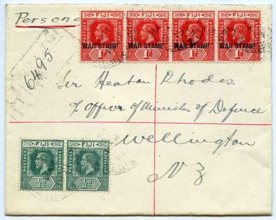 Envelope: Fiji Half Penny and One Penny Stamps Attached