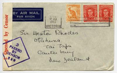Envelope: Australia Half Penny and Two and a Half Pence Stamps Attached