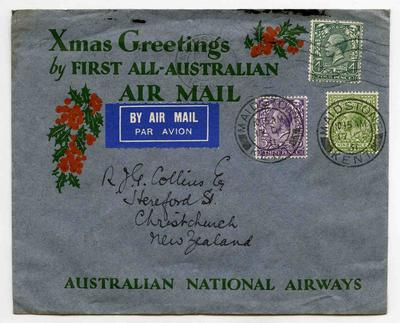 Envelope: First All-Australian Air Mail with Three British Stamps Attached