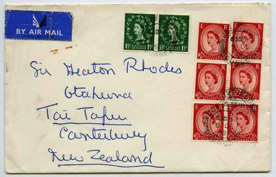 Envelope: British One and a Half Pence and Two and a Half Pence Stamps Attached