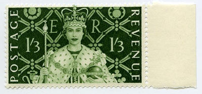 Stamp: British One Shilling and Three Pence