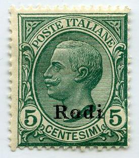 Stamp: Italian-Rodi 5 Centesimi