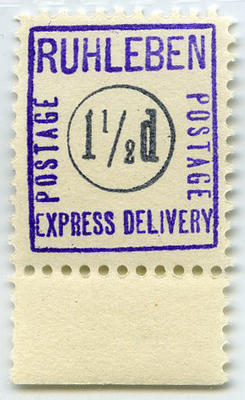 Stamp: Ruhleben Express Delivery One and a Half Penny