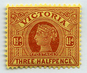 Stamp: Victoria One and a Half Pence