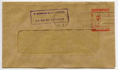 Envelope: Franked Stamp