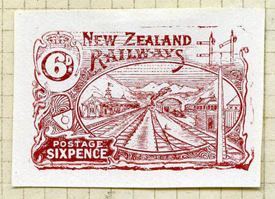 Proof: New Zealand Railways Six Pence Postage Stamp
