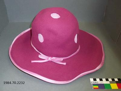 Hat: Pink Cut-out Polka Dots