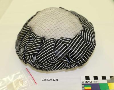 Hat: Black and White Braided Trim