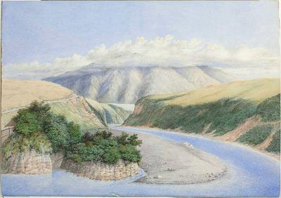 Watercolour: Rakaia Gorge With a View to Mount Hutt