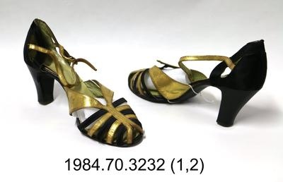 Sandals: Gold and Black High Heel