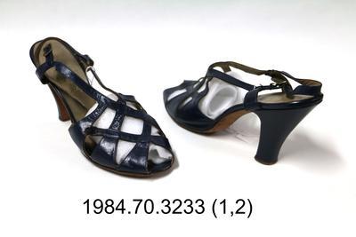 Sandals: Navy Blue Sling Back