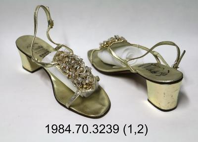 Sandals: Silver Sling Back