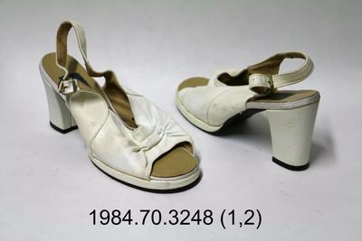 Sandals: White Sling Back Peep Toe