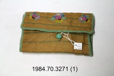 Purse: Embroidered Hessian Clutch