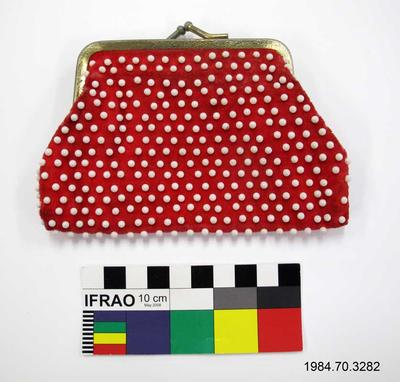 Change Purse: Red with White Bead