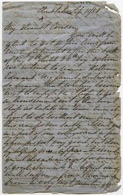 Letter: Emma Barker to Cousin, 11 September 1858