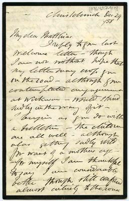 Letter: Alfred Charles Barker to Matthias Barker, 29 December 1858