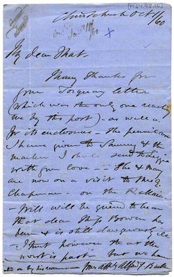 Letter: Alfred Charles Barker to Matthias Barker, 1 October 1860