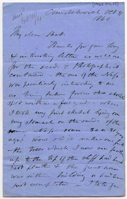 Letter: Alfred Charles Barker to Matthias Barker, 3 October 1860