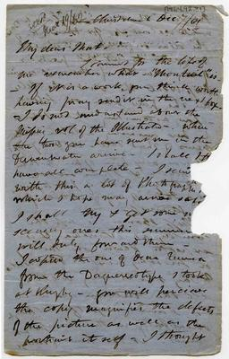 Letter: Alfred Charles Barker to Matthias Barker, 7 December 1861